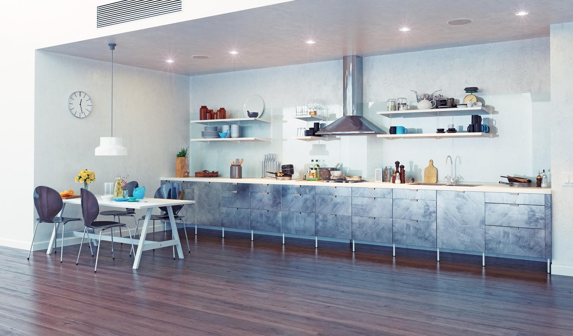 лаковый натяжной потолок на кухне