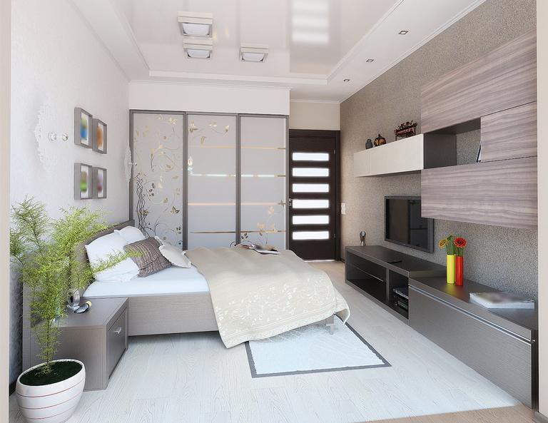 глянцевый двухуровневый натяжной потолок в спальне